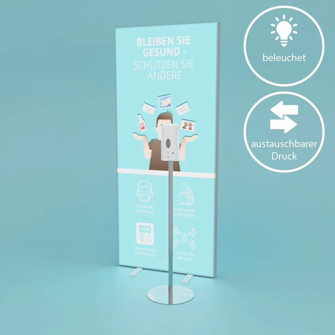 INFO lightbox + Desinfektionsspender mit Sensor | FLYERALARM Exposystems