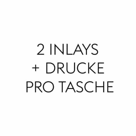 2 Inlays + Drucke pro Tasche